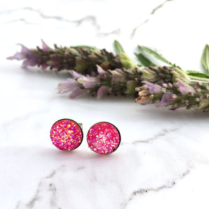 Pink Sparkle Studs (10mm)