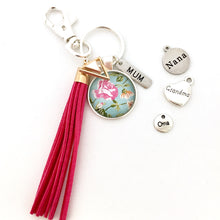 Mum, Nana, Oma, Grandma key ring with floral glass dome image and hot pink suede tassel, mothers day gift