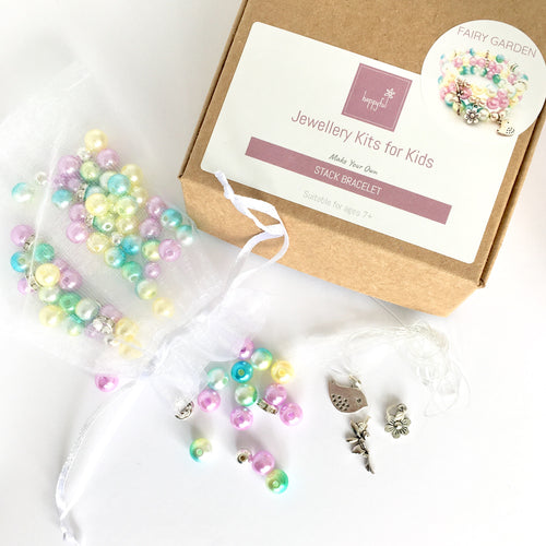 Fairy garden kids DIY jewellery set, stack charm bracelet with fairy, flower and bird charm in purple, yellow and mint green