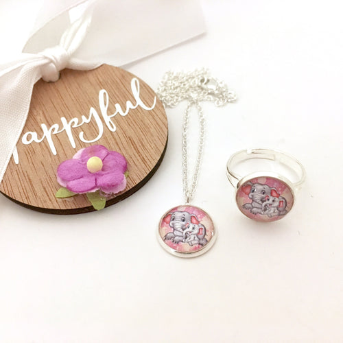 Pink elephant girls pendant necklace and ring
