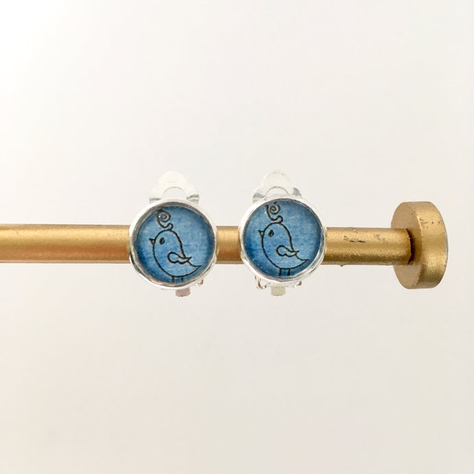 Blue Bird Clip-on Earrings