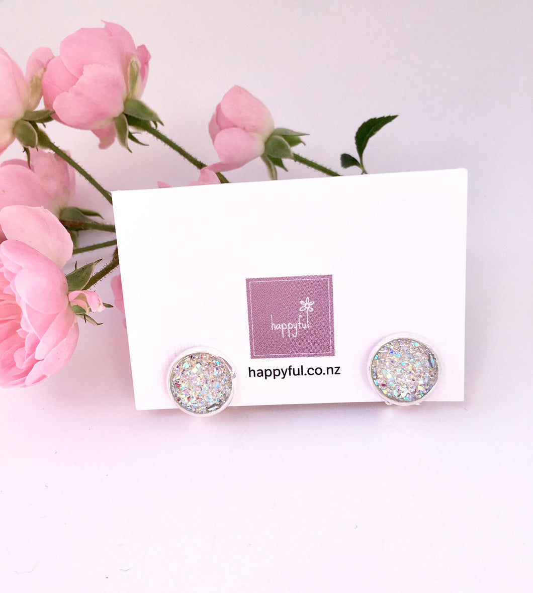 Sparkle faux druzy clip on earrings for girls