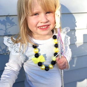 Emma Wiggles black and yellow bow necklace