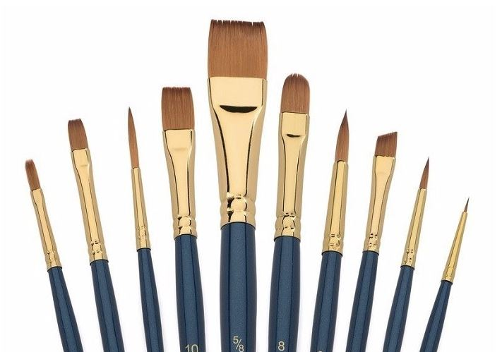 10pcs/set Multipoint Head Bicolor Taklon Hair Artist Paintbrushs for Watercolor Acrylic Painting