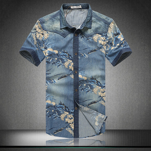 Floral Denim Casual Shirt-Men's Quarter