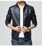 Faux Leather Casual Jacket - Men's Quarter