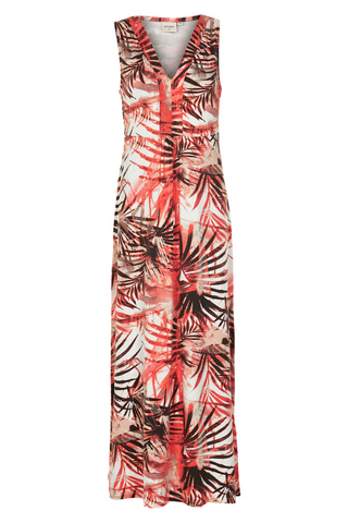 Long Palm Dress Bright Coral
