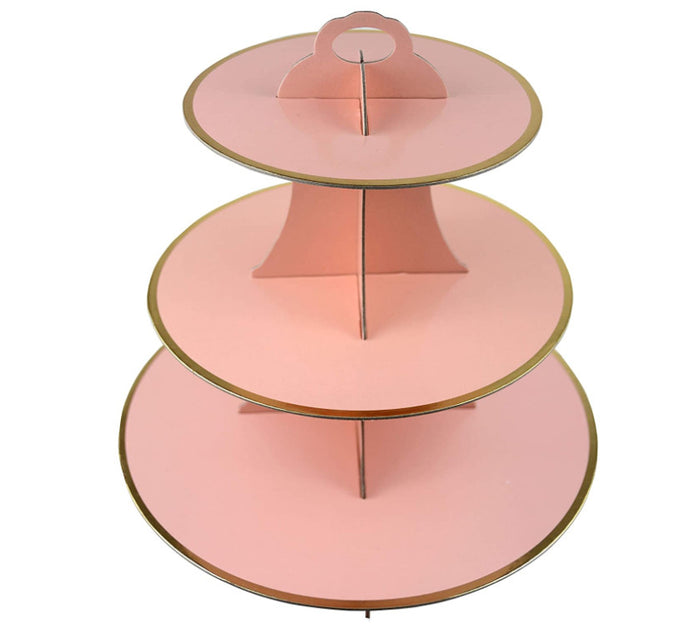 3-Tier Gold Pink Cardboard Tea Tray - 1 Piece