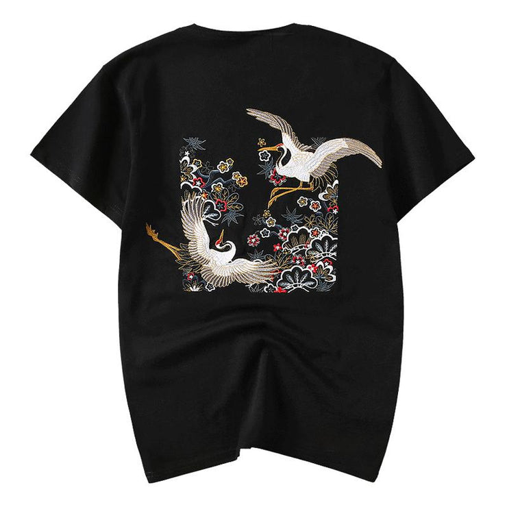 Double Cranes Embroidery T-shirt