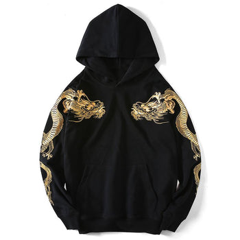Double Flying Dragons Embroidery Hoodie