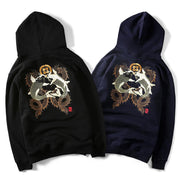 Double Koi & Dragon Embroidered Sukajan Hoodie