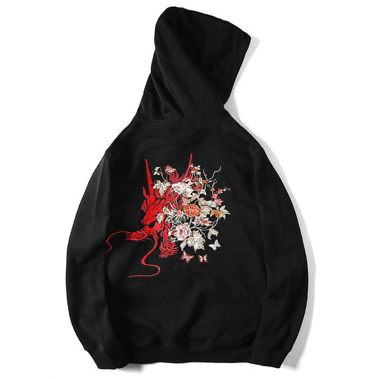 Dragon in Flowers Embroidered Hoodie