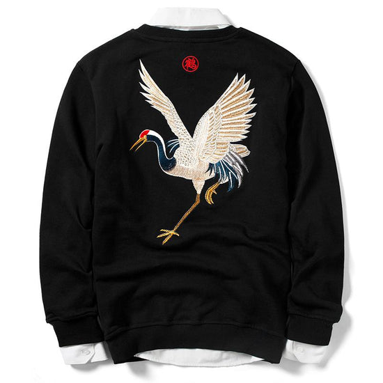 Crane Embroidery Sweatshirt