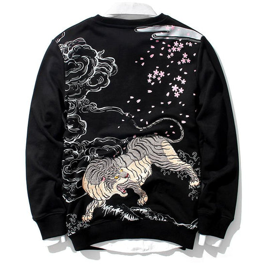 Fearless Tiger Embroidery Sweatshirt