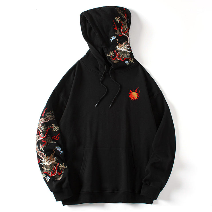 Fiery Pearl Dragon Embroidered Hoodie