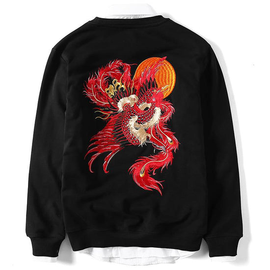 Fire Phoenix Embroidery Sweatshirt