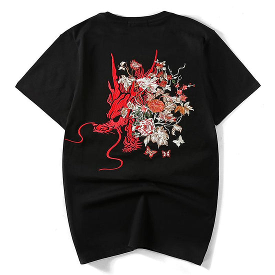 Dragon in Flowers Embroidery T-shirt