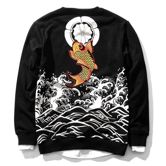 The Golden Koi Embroidery Sweatshirt