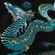 Teal Dragon Embroidered Hoodie