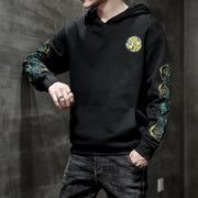 Green Dragon Sleeves Embroidered Hoodie