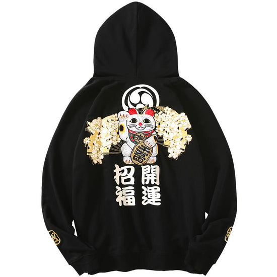 Lucky Cat Embroidered Hoodie
