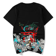 Red Koi & Dragon Painted T-shirt
