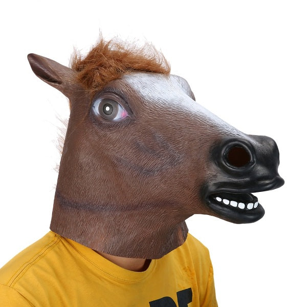 c17acb89cc8c Full Head Mask Horse Head Mask Creepy Fur Mane Latex Realistic Crazy Rubber  Super Creepy Party Halloween Costume Animal Mask