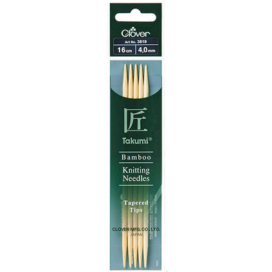 Clover Bamboo Knitting Needles Takumi Double Pointed (16cm)