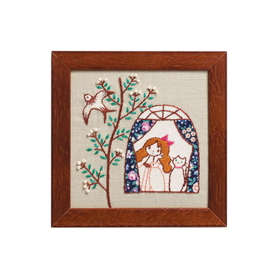 GIRL AND HER CAT EMBROIDERY KIT(3 DESIGNS AVAILABLE)