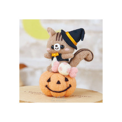 needle felting halloween pumpkin squirrel kit