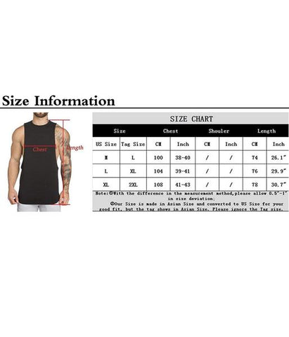 Muscle Tank Top Size Chart