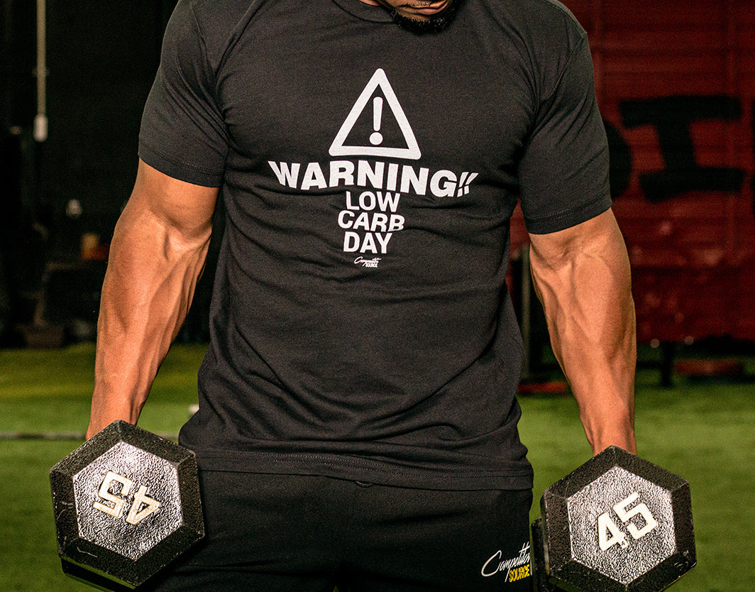 f5f2ed2f8 Warning Low Carb Day - Workout T-Shirt - Competitor Source