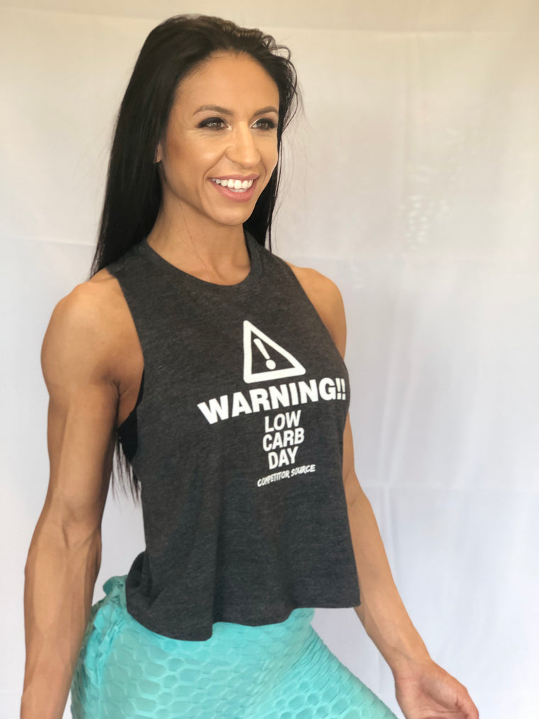 Warning Low Carb Day RacerBack Tank Tops