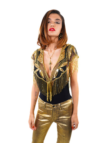 Dripping in Gold Cape/Top - Vintage Shop - Hunt and Gather San Diego - Festival Fashion