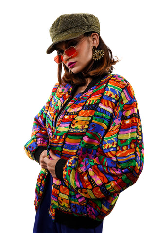 Radical Rainbow Patty Bomber - Vintage Shop - Hunt and Gather San Diego - Festival Fashion
