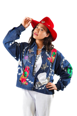 Rhinestone Rodeo Denim Jacket - Vintage Shop - Hunt and Gather San Diego - Festival Fashion