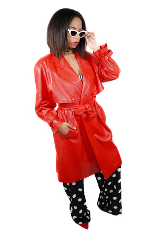 Seduce Me Sophia Red Leather Trench