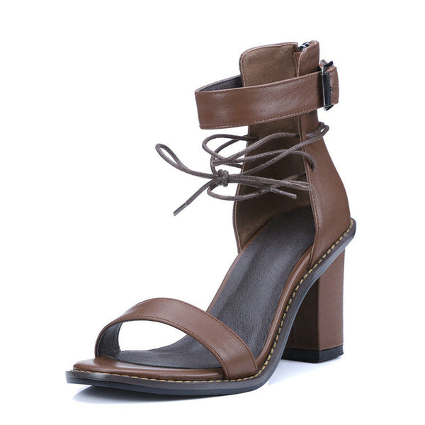 Square Heel Leather Sandal