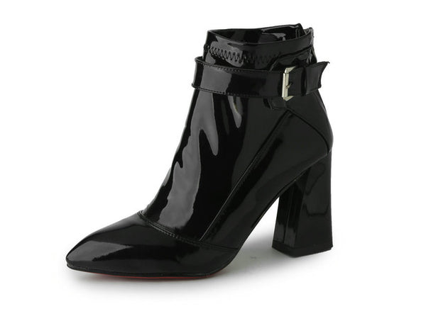 Pointed Patent Square Heel Ankle Boot Plus Size