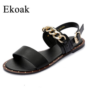 Leather Metal Chain Sandal