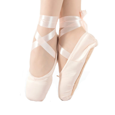Ballet Pointed Shoes with Satin Ribbon & Toe Pad