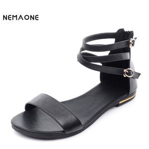 Genuine Leather Heel Zip Sandal