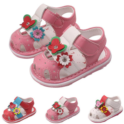 Toddler Leather Floral Sandal
