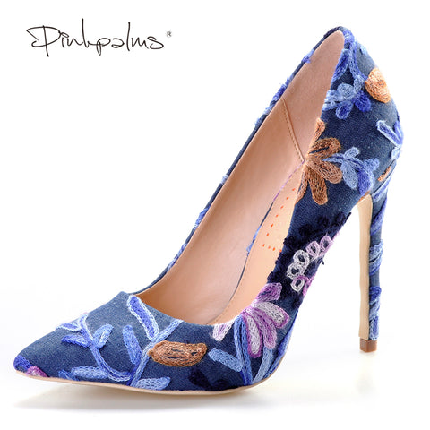 Embroidered High Heel Pump