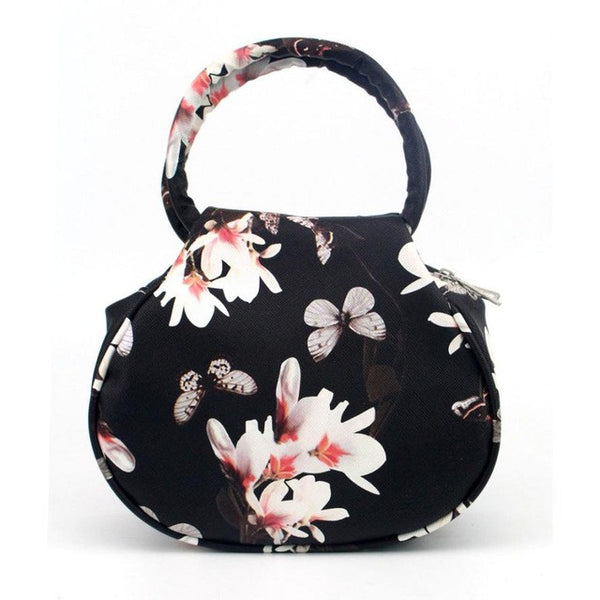 Retro Floral Leather Clutch Satchel Bag