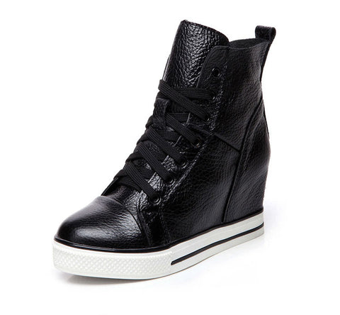 Women Lace Up Leather Platform Shoes