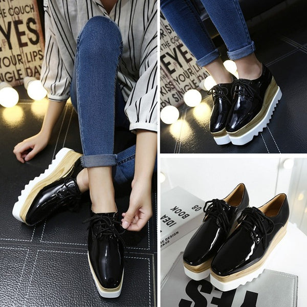 Square Toe Platform Flat Lace Up Shoes