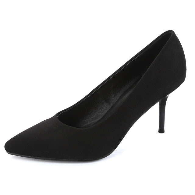 Pointed Flock Heel Leather Pump