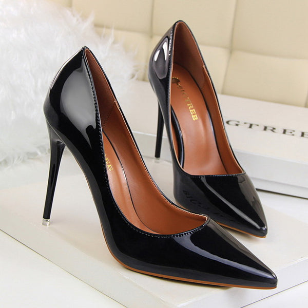 Pointy Leather High Heel Pump
