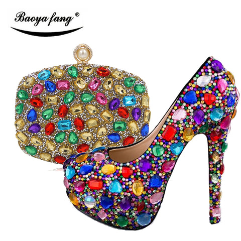 Crystal Jewel High Heel Pump with matching Bag